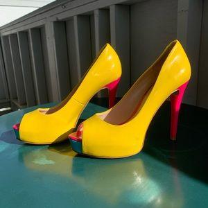 Guess open-toe color block heels